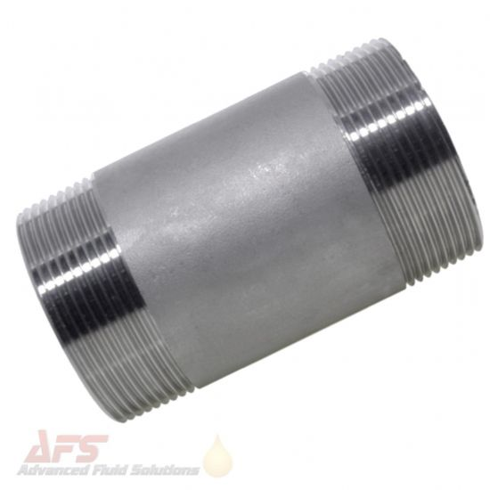 316 SS Stainless Steel Barrel Nipple Equal BSPT Male Threads